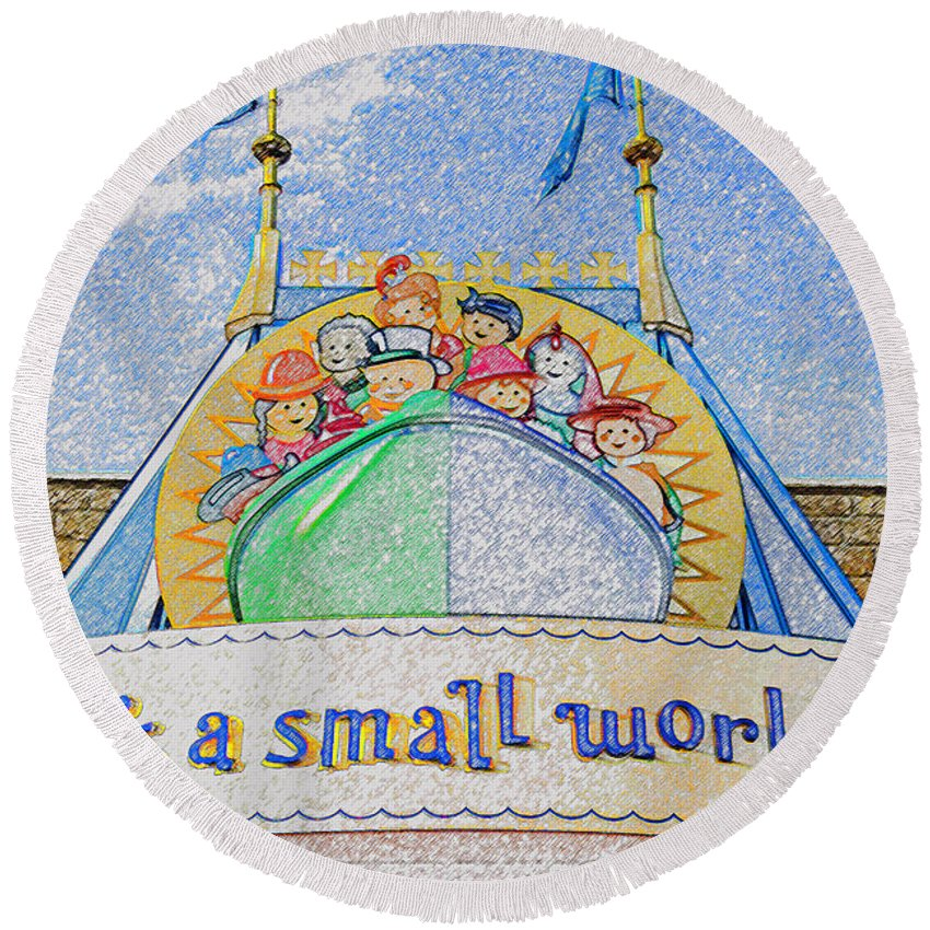 It's A Small World Ride Round Beach Towel featuring the painting It's A Small World Entrance Original Work by David Lee Thompson
