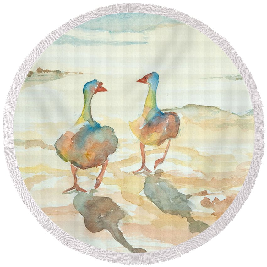 Watercolors For Sale Round Beach Towel featuring the painting It's A Ducky Day by Debbie Lewis