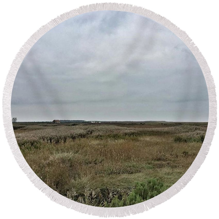 Natureonly Round Beach Towel featuring the photograph It's A Grey Day In North Norfolk Today by John Edwards