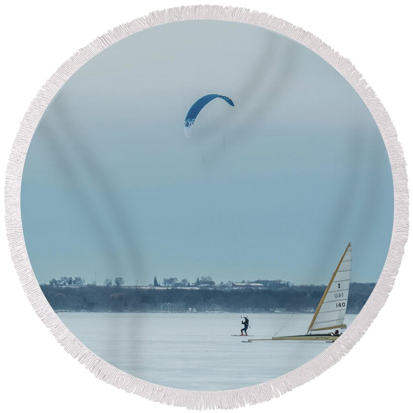 Ice Boat Round Beach Towel featuring the photograph It's A Race by Kristine Hinrichs