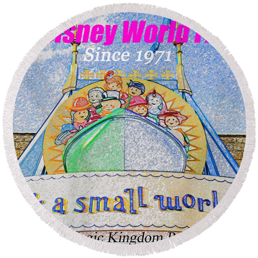 It's A Small World Round Beach Towel featuring the painting It's A Small World Poster Art by David Lee Thompson