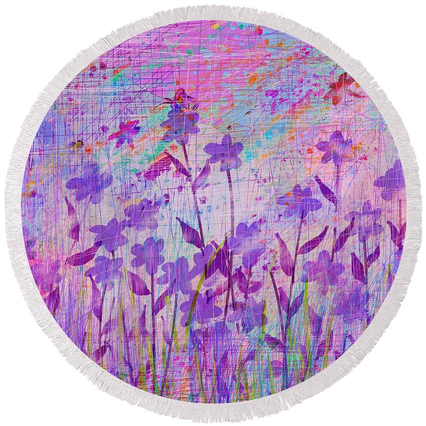 Abstract Round Beach Towel featuring the digital art It's A Wild World by Rachel Christine Nowicki