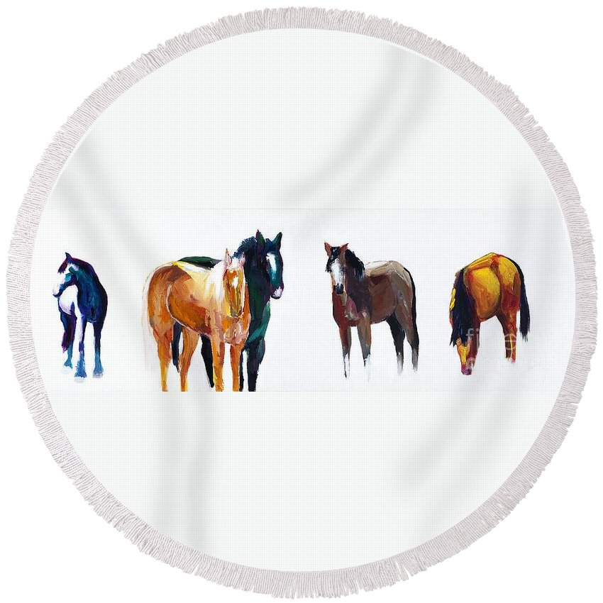 Horses Round Beach Towel featuring the painting It's All About The Horses by Frances Marino