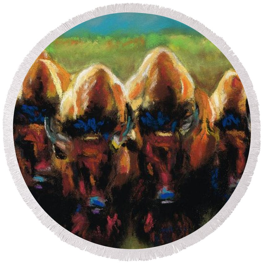 Bison Round Beach Towel featuring the painting Its All Bull by Frances Marino