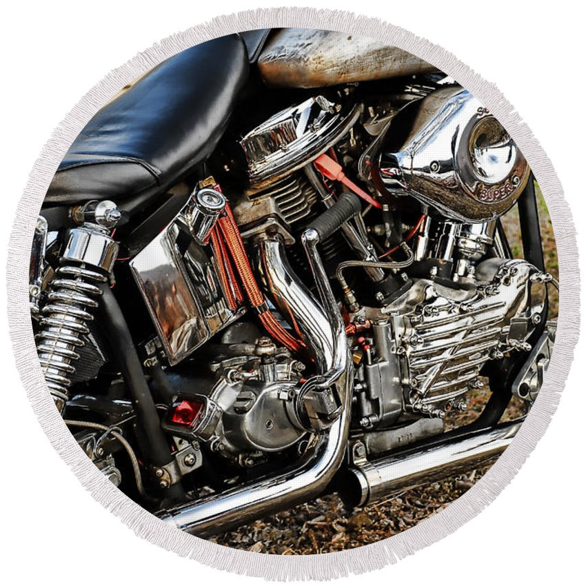 Harley Davidson Round Beach Towel featuring the photograph Its All Good by Tony Bazidlo