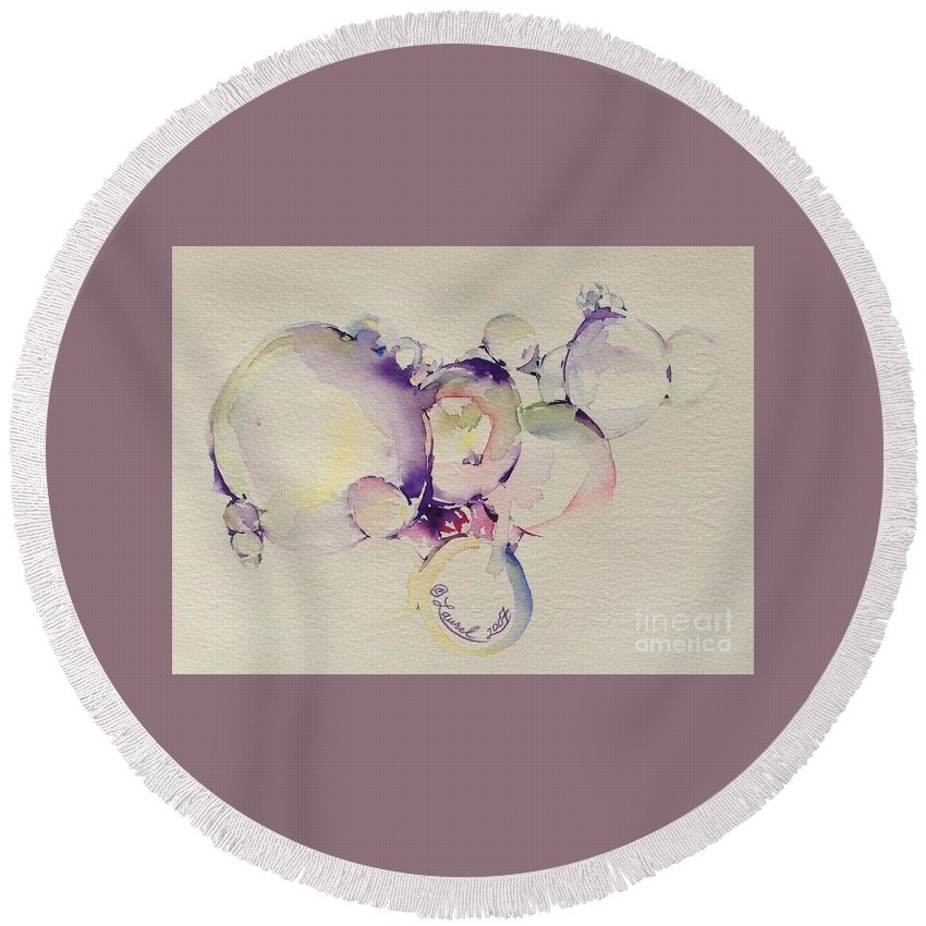 Artist Favorites Round Beach Towel featuring the painting It's All In The Bubble by Laurel Adams
