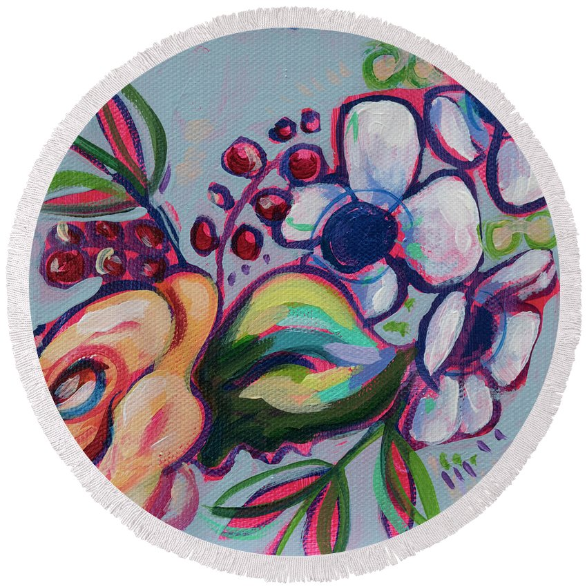 Rose Round Beach Towel featuring the painting It's My Party by Kristin Whitney