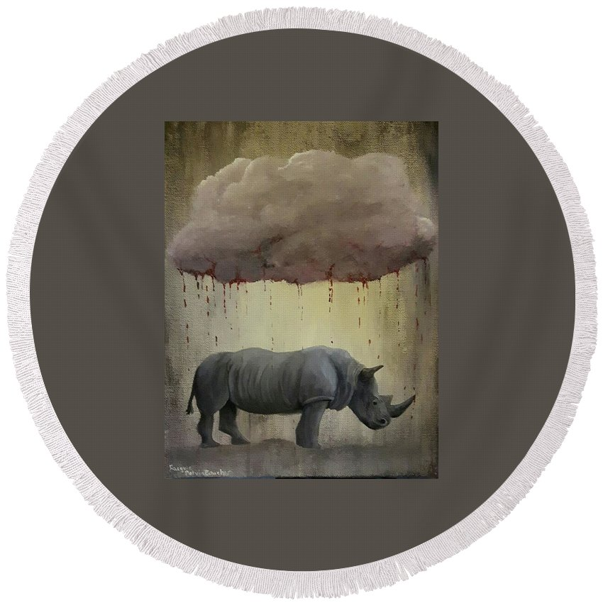 Rhino Round Beach Towel featuring the painting It's Not Always As It Seems by Jacquie Potvin Boucher