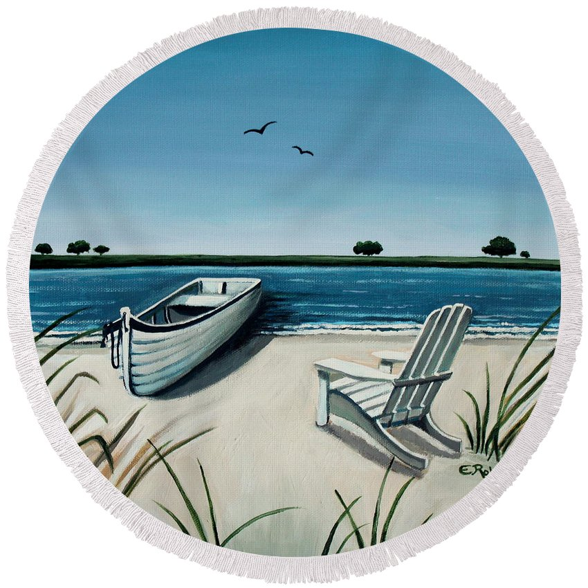 Beach Round Beach Towel featuring the painting Its Summertime by Elizabeth Robinette Tyndall