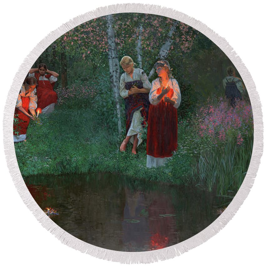 Girs Round Beach Towel featuring the painting Ivan Kupala. Fortunetelling For Wreaths. by Simon Kozhin