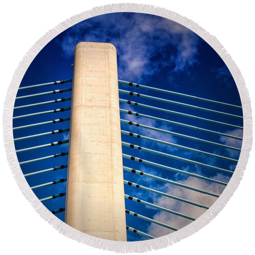 Indian River Bridge Round Beach Towel featuring the photograph Ivory Tower At Indian River Inlet by Bill Swartwout Fine Art Photography