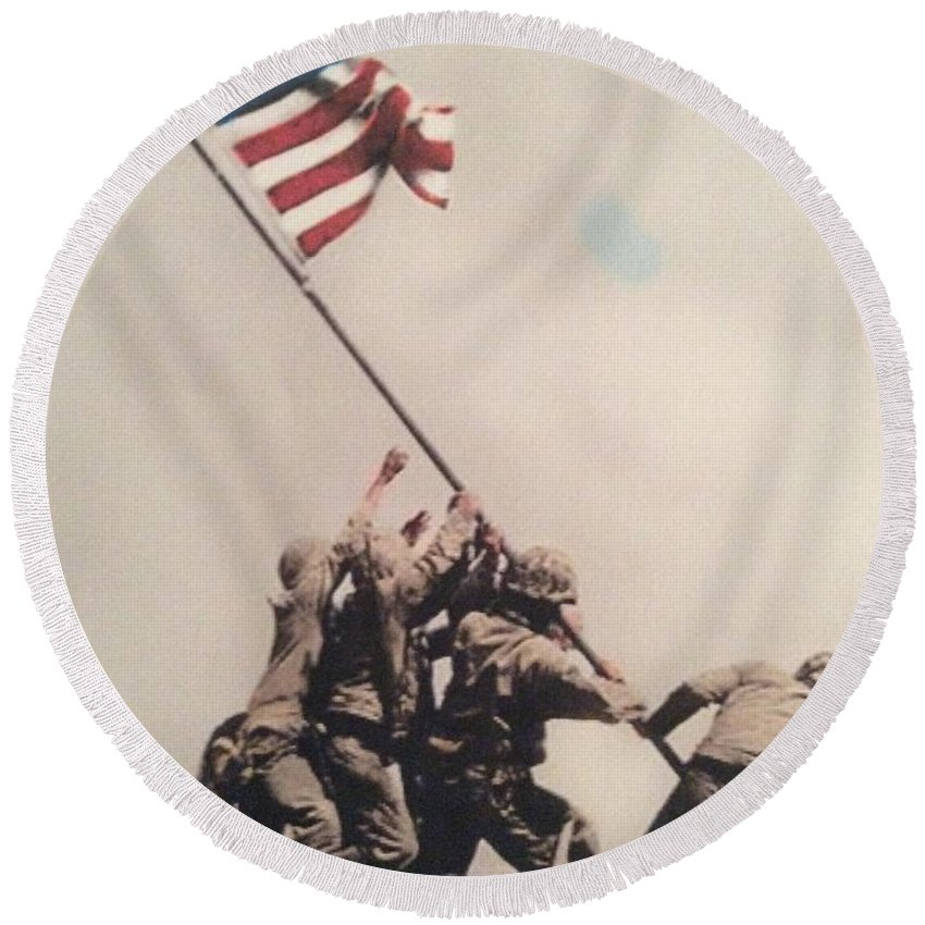 Round Beach Towel featuring the photograph Iwo Jima by Bruce Cohose