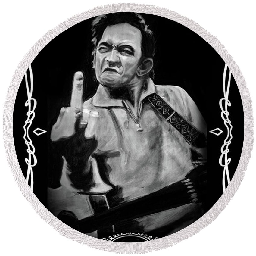 Johnny Cash Round Beach Towel featuring the digital art J Cash by Charles Bickel