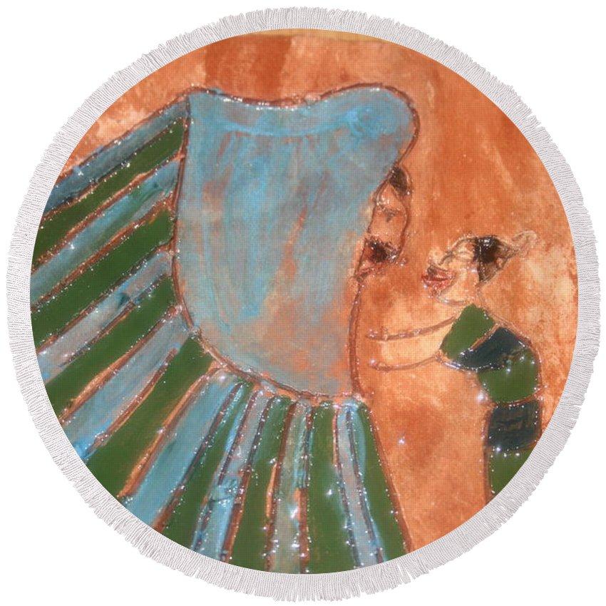 Jesus Round Beach Towel featuring the ceramic art Jaaja Getu And Her Abigail - Tile by Gloria Ssali