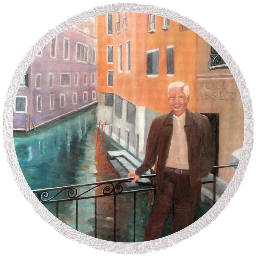 Venice Round Beach Towel featuring the painting Jack In Venice by Jamie Frier