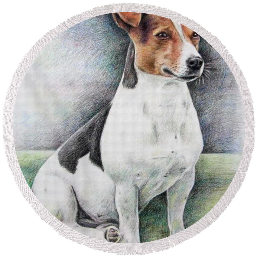 Dog Round Beach Towel featuring the drawing Jack Russell Terrier by Nicole Zeug