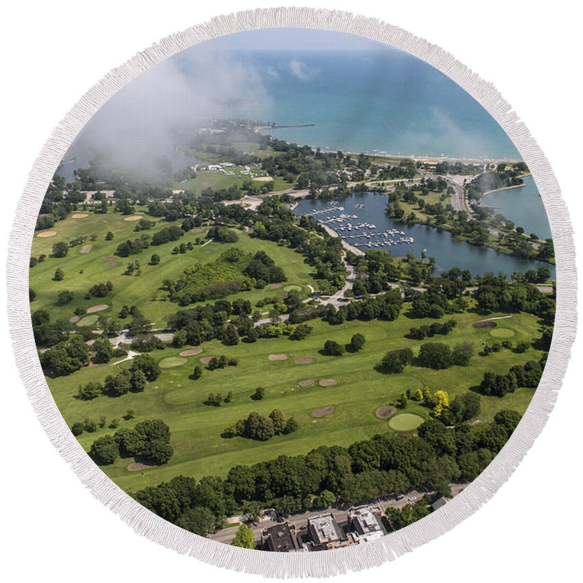 Jackson Park Round Beach Towel featuring the photograph Jackson Park Golf Course In Chicago Aerial Photo by David Oppenheimer