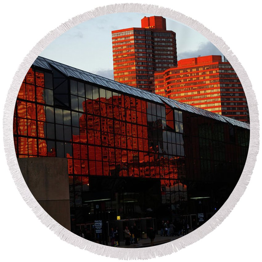 New York City Round Beach Towel featuring the photograph Jacob Javits Reflections by Rich Walter