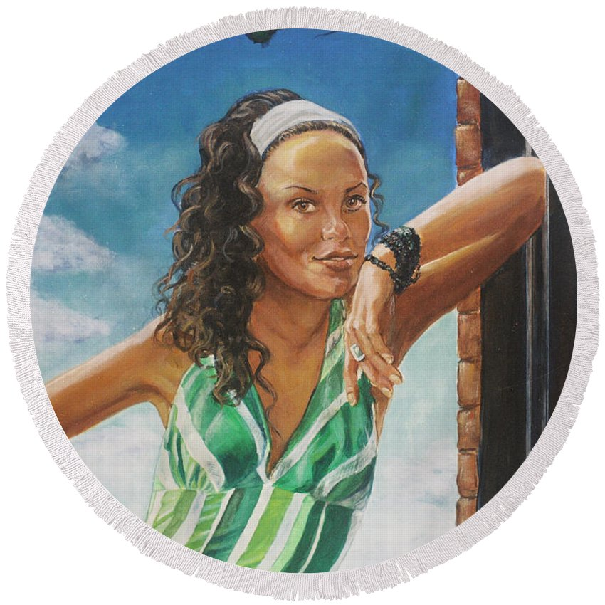 Jade Anderson Round Beach Towel featuring the painting Jade Anderson by Bryan Bustard