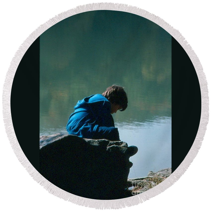 Silhouette Round Beach Towel featuring the photograph Jadon Pondering by Penny Neimiller