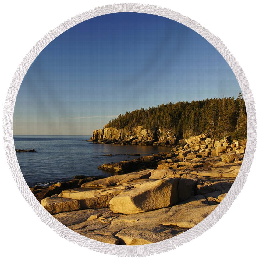 Acadia Round Beach Towel featuring the photograph Jagged Coast Of Maine by Brian Kamprath