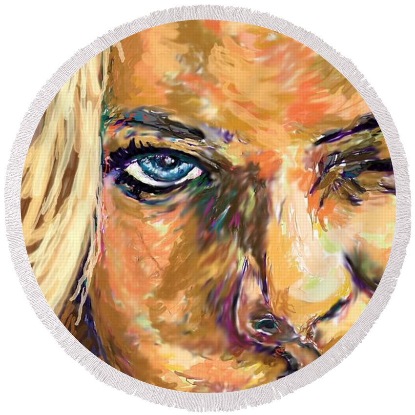 Jaime Pressly Round Beach Towel featuring the painting Jaime Pressly by Travis Day