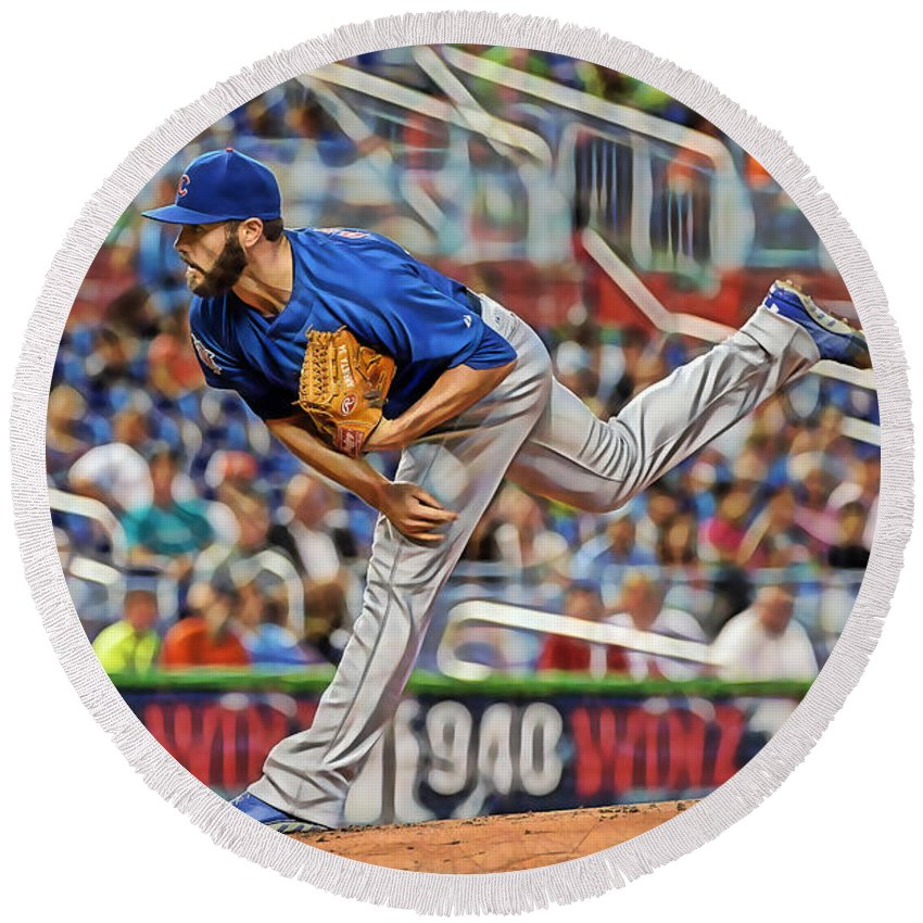 Jake Arrieta Round Beach Towel featuring the mixed media Jake Arrieta Chicago Cubs Pitcher by Marvin Blaine