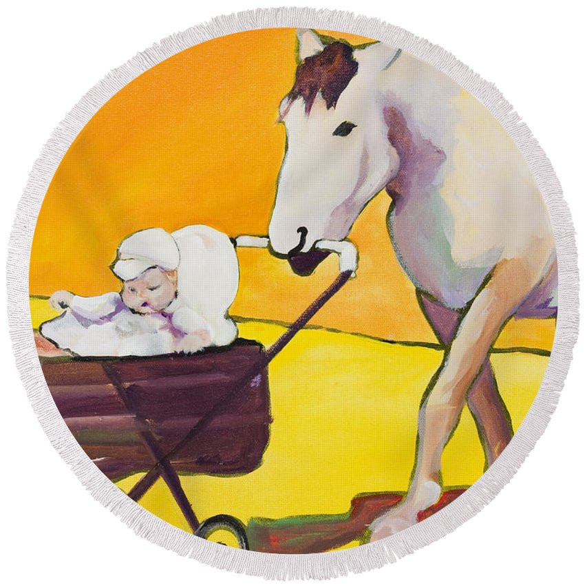 Animal Round Beach Towel featuring the painting Jake by Pat Saunders-White