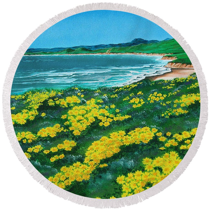 Jalama Round Beach Towel featuring the painting Jalama Beach by Angie Hamlin