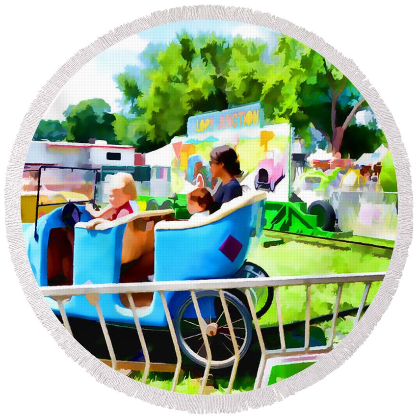 Jalopy Junction Round Beach Towel featuring the painting Jalopy Junction 2 by Jeelan Clark