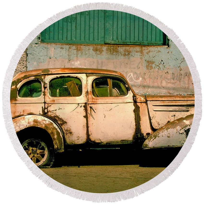 Skip Round Beach Towel featuring the photograph Jalopy by Skip Hunt