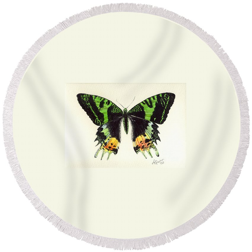 Butterfly Round Beach Towel featuring the painting Jamaican Jewel by Lynn Quinn