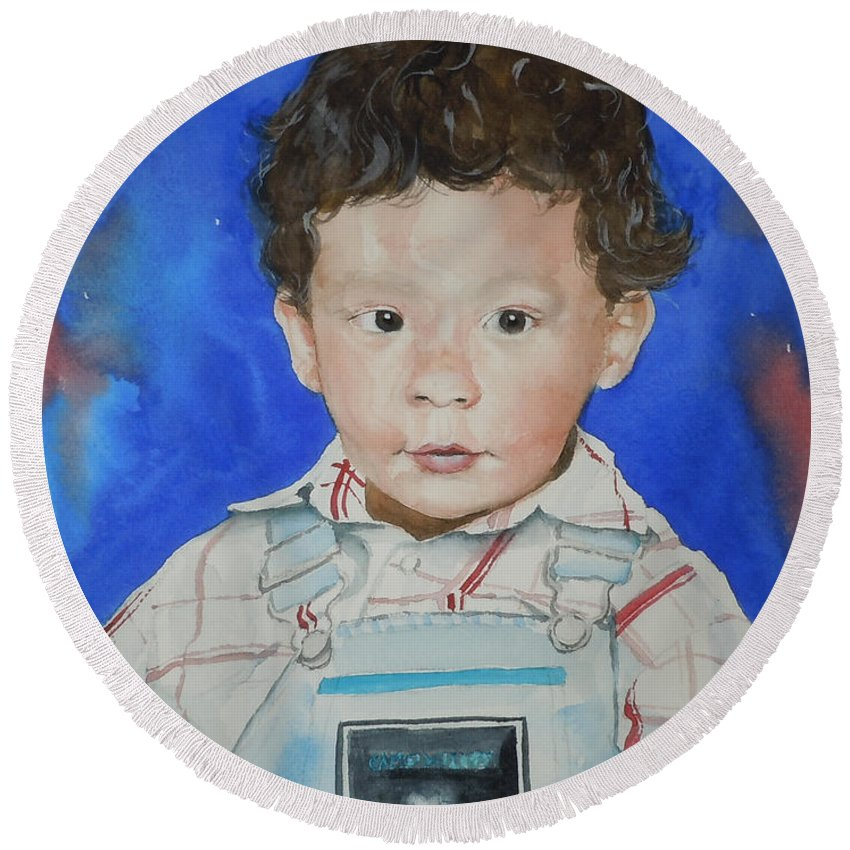 Boy Round Beach Towel featuring the painting Jamal by Jean Blackmer