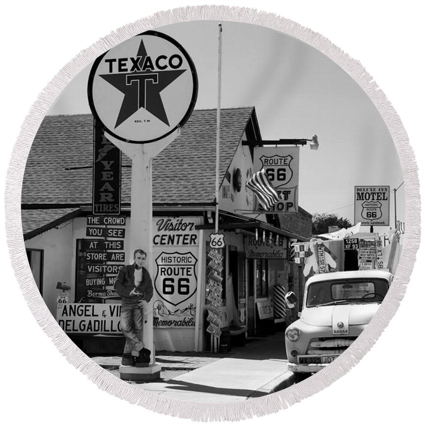James Dean Round Beach Towel featuring the photograph James Dean On Route 66 by David Lee Thompson