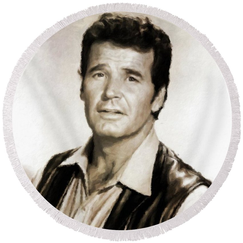 Hollywood Round Beach Towel featuring the painting James Garner By Mb by Mary Bassett