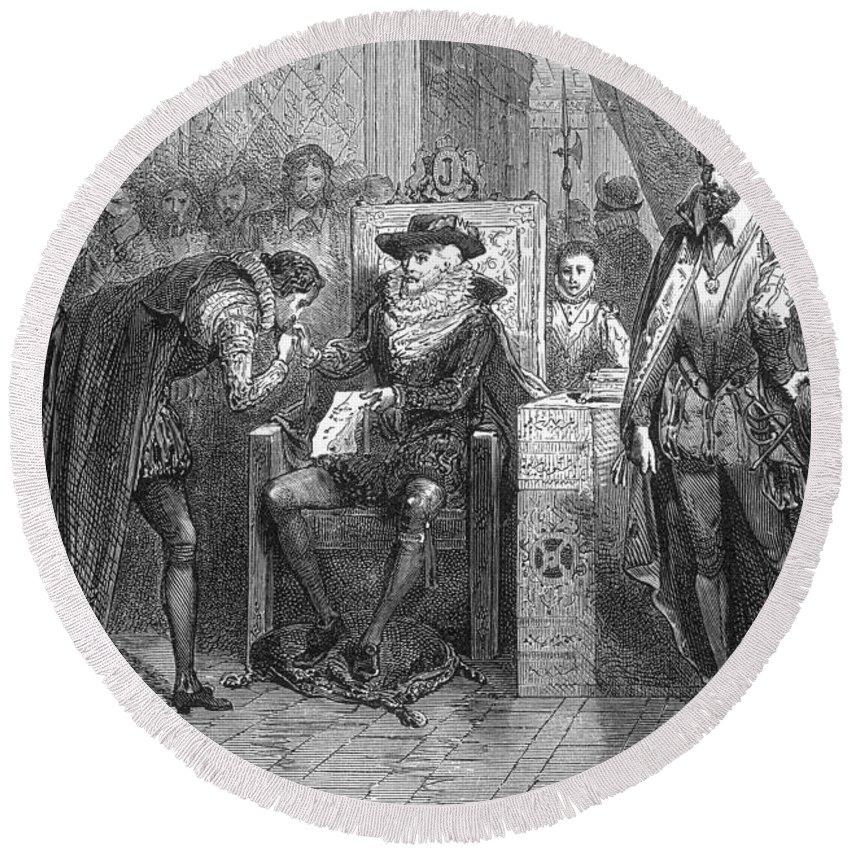 Science Round Beach Towel featuring the photograph James I Appoints Bacon Lord Chancellor by Science Source