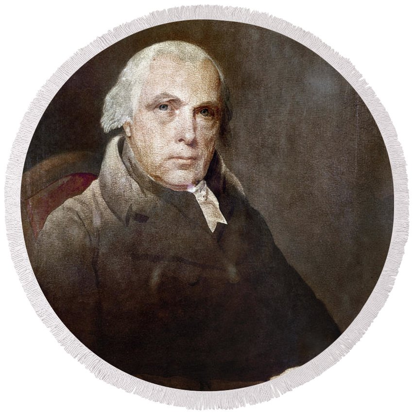 1817 Round Beach Towel featuring the photograph James Madison (1751-1836) by Granger