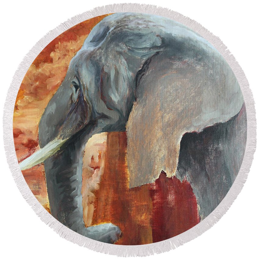 Animal Round Beach Towel featuring the painting Jana by Todd A Blanchard
