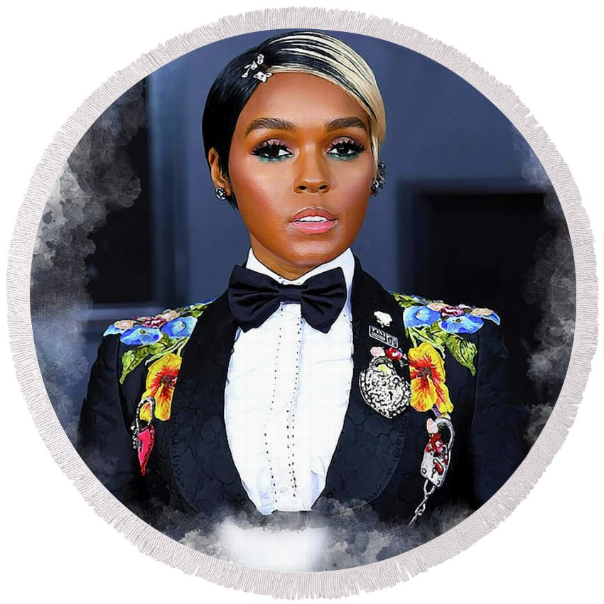 Janelle Monae Round Beach Towel featuring the digital art Janelle Monae by Karl Knox Images