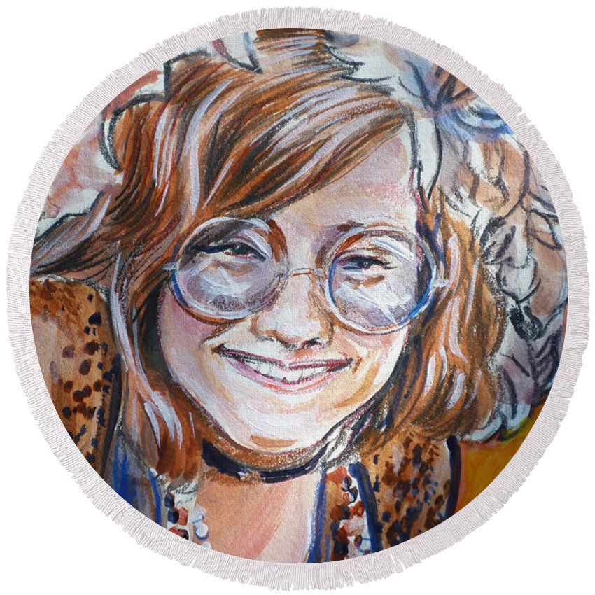 Janis Joplin Round Beach Towel featuring the painting Janis Joplin by Bryan Bustard