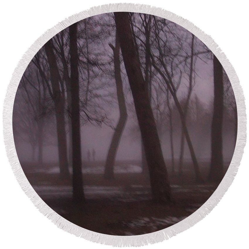 January Round Beach Towel featuring the photograph January Fog 1 by Anita Burgermeister