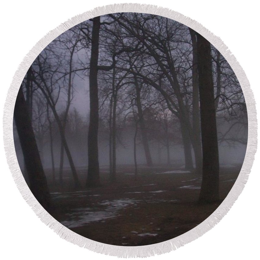 January Round Beach Towel featuring the photograph January Fog 2 by Anita Burgermeister