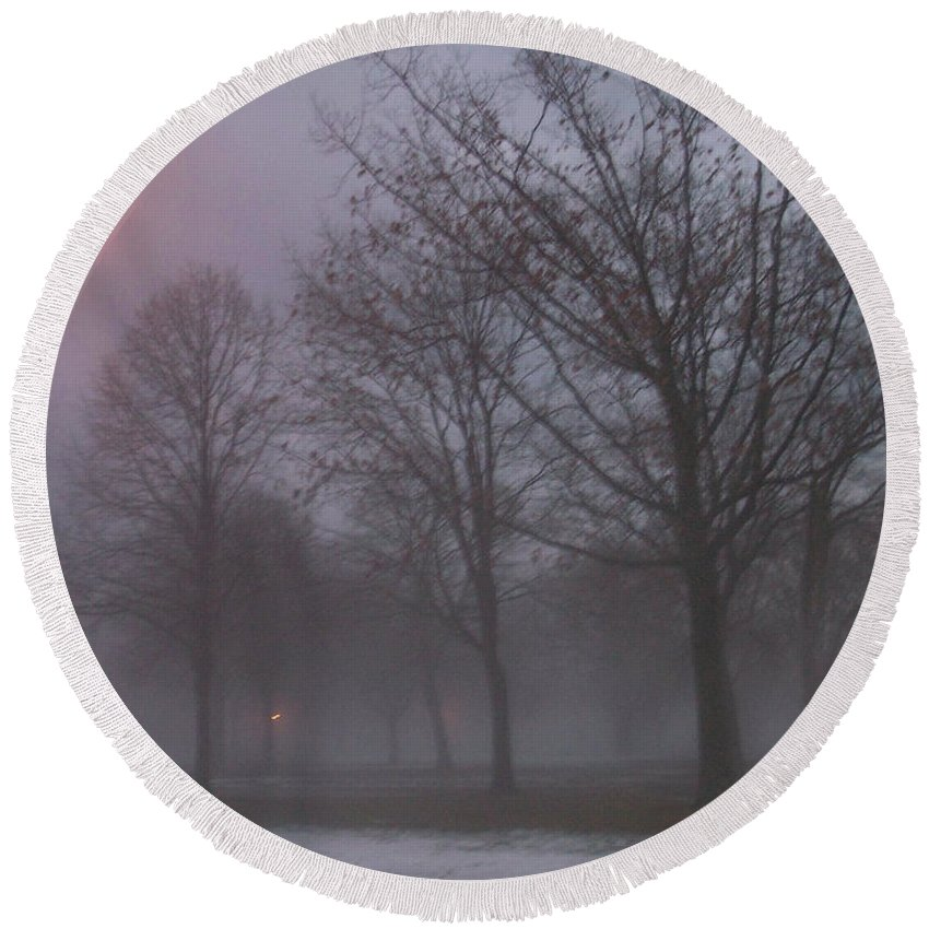 January Round Beach Towel featuring the photograph January Fog 3 by Anita Burgermeister