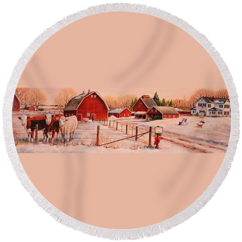 Cows Round Beach Towel featuring the painting January Thaw by Toni Grote