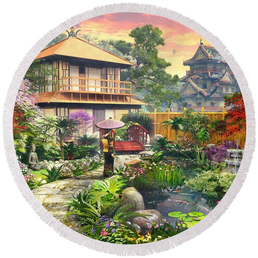 Horizontal Round Beach Towel featuring the digital art Japan Garden Variant 2 by Dominic Davison