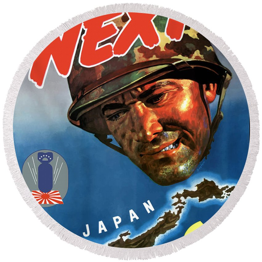 World War Ii Round Beach Towel featuring the painting Japan Next World War 2 Poster by War Is Hell Store