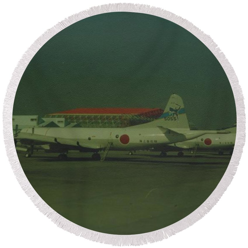 Airplane Round Beach Towel featuring the photograph Japanese Airforce by Rob Hans