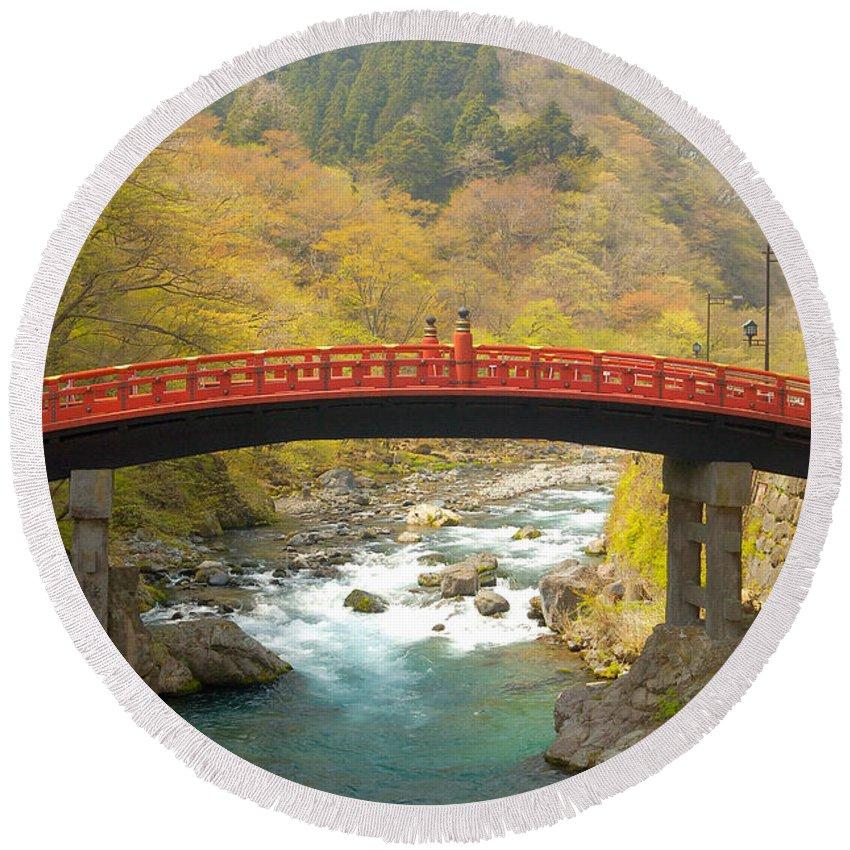 Japan Round Beach Towel featuring the photograph Japanese Bridge by Sebastian Musial