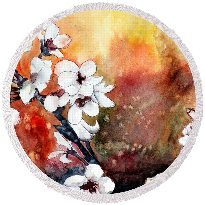 Watercolor Round Beach Towel featuring the painting Japanese cherry blossom abstract flowers by Derek Mccrea