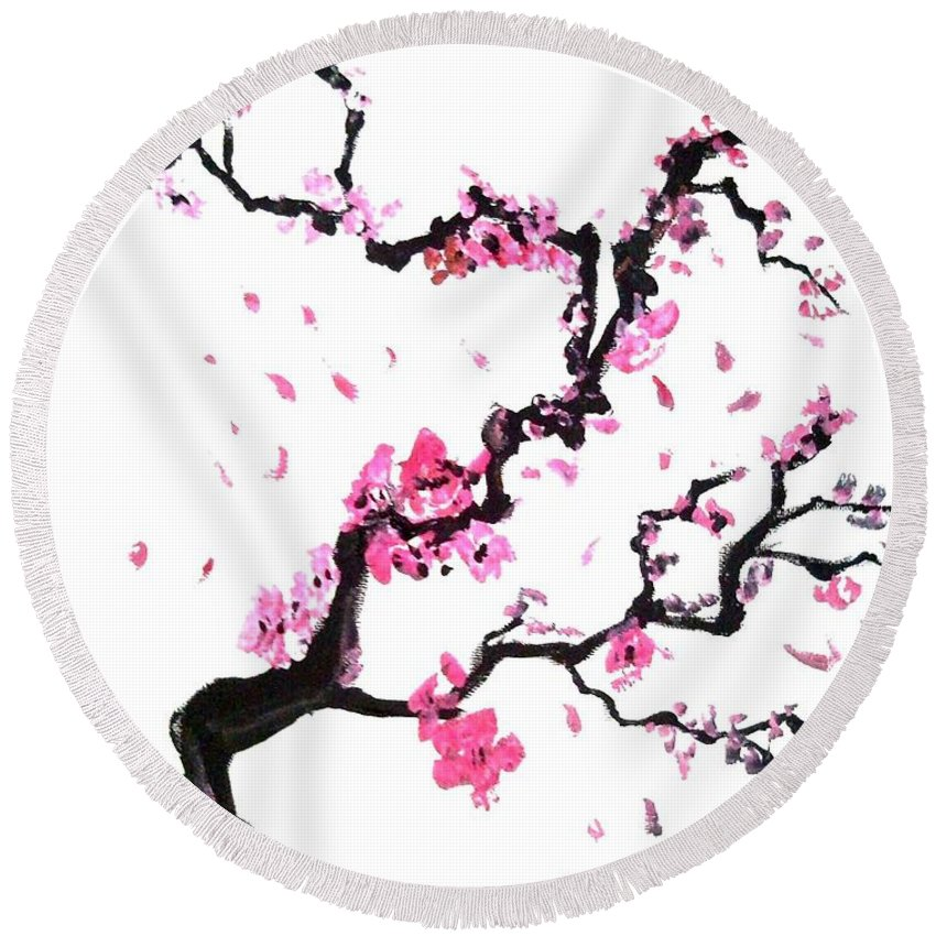 Round Beach Towel featuring the mixed media Japanese Cherry Blossoms by Jay Shaw